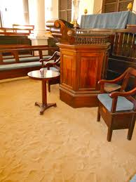 sand covered floor